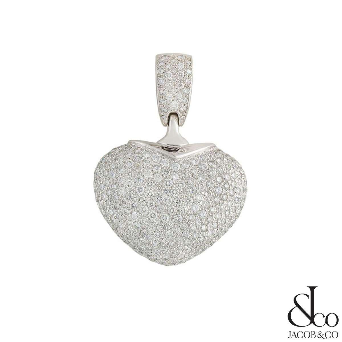Jacob & Co 14k White Gold Diamond Heart Pendant